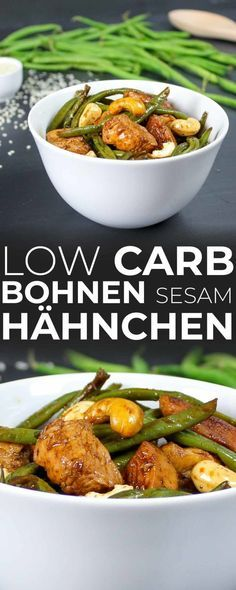 Low Carb Bohnen Sesam Hähnchen Quick and Easy Healthy Lunch Ideas Healthy Lunch Ideas are the nice w No Calorie Foods, Low Calorie Recipes, No Carb Diets, Menu Dieta Paleo, Low Carb Beans, Salad Recipes, Diet Recipes, Diet Meals, Dessert Recipes