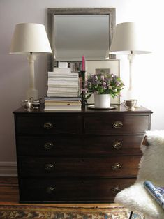 Accessorizing a dresser in the living room