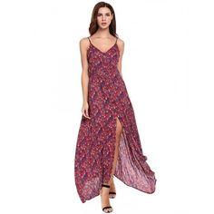 Women Casual Sleeveless Floral Print V Neck Button Up Split Maxi Party Dress