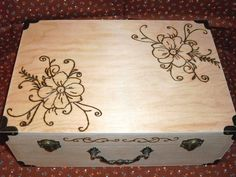 Wood Burned Floral Box for Photos, Wedding or Christmas Cards, Keepsakes,Baby Memories Personalize It. $45.00, via Etsy.