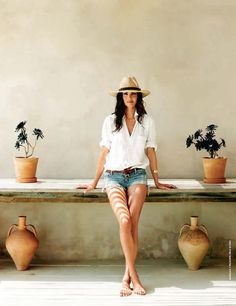 denim cutoffs and white shirt