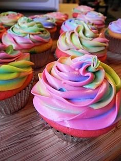 "Tie-dye Cupcakes inside & out! color cupcake mix 6 different colors and put a little of each in the cup to bake. Do the same with frosting and put a little of each color in an icing bag with tip & frost. Would be cute for my daughters ""my little pony"" cupcakes"