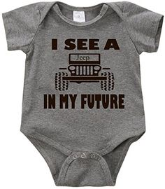 VRW I see a Jeep in my future unisex Onesie Romper Bodysuit 36months Grey * Find out more about the great product at the image link.Note:It is affiliate link to Amazon. #GirlsClothes