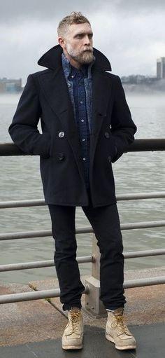 vintage pea coat, bearded man