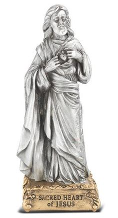 4 Genuine Pewter Statue, unsurpassed in quality of workmanship and detail, on a majestic gold tone base. Made in the USA by skilled craftsmen. Comes gift boxed. Catholic Online, Catholic Gifts, Religious Gifts, Heart Of Jesus, Patron Saints, Sacred Heart, Independence Day, Pewter, Craftsman