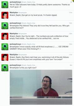 Jacksepticeye and Markiplier Twitter conversation
