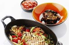 Pladijs op de barbecue met tomatencompote en gelakte auberginePladijs op de barbecue met tomatencompote en gelakte aubergine