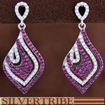 White And Pink Cubic Zirconia Genuine Sterling Silver Post Earrings Jewelry