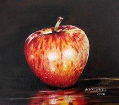 "Buy "" An Apple"", Oil painting by Hanna Kaciniel on Artfinder. Discover thousands… Canvas Board, Oil Painting On Canvas, Still Life, Artworks, Original Art, Apple, Fruit, Illustration, Image"