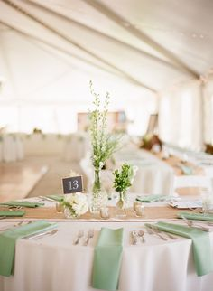 hochzeitsschuhe mint This Rustic Missouri Farm Wedding from Katie Saegar Events and Lisa Hessel Photgraphy features sage mint bridesmaids and white blooms. Burlap Wedding Decorations, Wedding Table Centerpieces, Flower Centerpieces, Reception Decorations, Burlap Wedding Tables, Wedding Table Setup, Wedding Mint Green, Sage Wedding, Spring Wedding