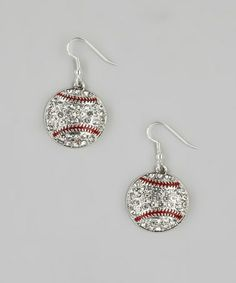 Take a look at this Silver & Crystal Baseball Earrings by From the Heart on @zulily today!