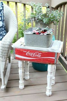 What do you think about this little side table made from a Coke crate?  DIY IT: http://refreshrestyle.com/coca-cola-crate-repurposed/