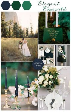 Emerald Green and Navy Wedding Palette