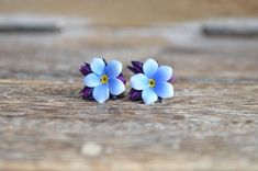 Sterling silver and polymer clay realistic blue forget-me-not flowers; stud earrings