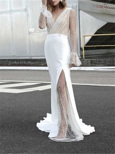 Mesh See-thru Material Polyester Neckline V-neck Style Elegant, Pattern Type No Length Type Floor-length Length on size M) Silhouette Mermaid Sleeve Long Sleeves Sleeve Length on size M) Season Spring, Summer, Fall, Winter Decoration Party Gowns Online, Maternity Dresses For Photoshoot, Maternity Fashion, Mermaid Prom Dresses, Dress Prom, Formal Dress, Cheap Gowns, Evening Dresses, Summer Dresses