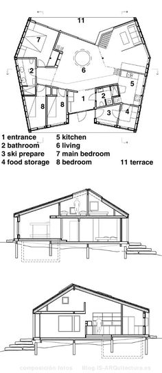 planos-refugio-nordmarka-madera-noruega Casas Containers, Cabin Homes, Architecture Plan, Floor Plans, Loft, How To Plan, Pallets, House Ideas, Design