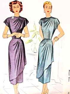 DRAMATIC Cocktail Party Evening Dress Pattern McCALL 7436 Vintage Sewing Pattern Figure Flattering Asymmetrical Draped Front Bust vintage sewing patterns: This is a fabulous original dress making pattern, not a copy. Moda Vintage, Vintage Mode, Evening Dress Patterns, Vintage Dress Patterns, Clothing Patterns, 40s Mode, Retro Mode, 1940s Dresses, Trendy Dresses