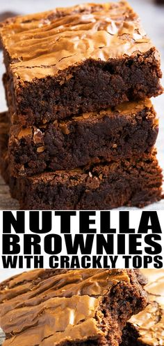 NUTELLA BROWNIES RECIPE from scratch- Quick, easy, made with 3 simple ingredients in one bowl and 30 minutes. They are super fudgy, soft and chewy. From CakeWhiz.com #nutella #brownies #dessert #recipe #chocolate #baking #dessertrecipes #brownies #sweet #3ingredients