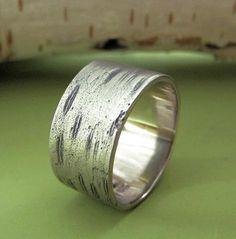 Birch Bark Wedding Ring in 14k Palladium White Gold - Various Widths