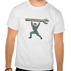 Mechanic Lifting Spanner Wrench Circle Cartoon Tee Shirt. Illustration of a mechanic wearing hat and overalls looking to the side lifting giant spanner wrench viewed from front set on isolated background done in cartoon style. #Illustration #MechanicLiftingSpanner