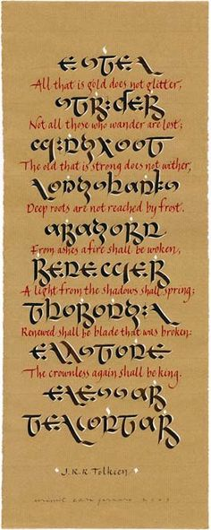Elvish writing from The Lord of the Rings. Don't know if it's Quenya or Sindarin.
