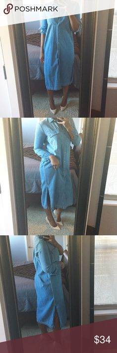Gap 1969 Denim Shirt Dress!! Casual denim shirt dress featuring full button down front, functioning top pockets, and 12 inch side splits! Gently used condition! **Just for height reference I am 5'3.5!** GAP Dresses Midi
