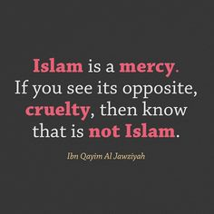 Islam is a mercy. If you see its opposite, cruelty, then know that is not Islam.