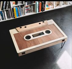Custom cassette tape coffee table finished with WOCA Master Oil Natural and Master Oil White www.wocausa.com