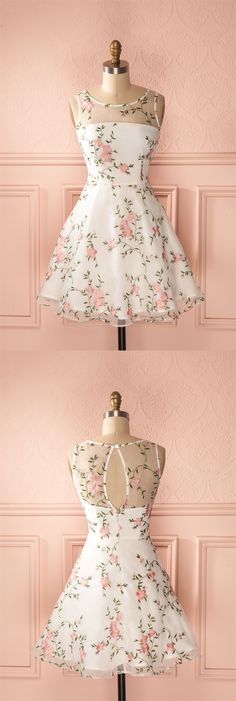 cute floral white short homecoming dresses for teens, a line knee length graduation party dress #floral