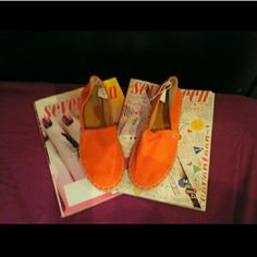 Orange espadrilles Brand new never worn size 6 but run a bit small. Old Navy Shoes Espadrilles