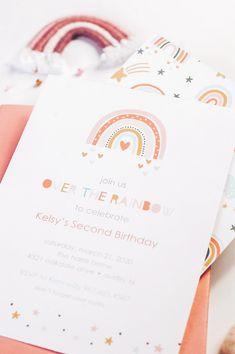 Modern Rainbow Invitation by PartyMonkey on Etsy - Birthday Party 2 Rainbow Birthday Invitations, Rainbow First Birthday, Rainbow Theme, Girl First Birthday, First Birthday Parties, Birthday Party Themes, First Birthdays, Rainbow Colors, Blue Colors