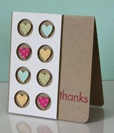handmade thank-you card ... kraft base ... clean lines ... panel with negative space circles popped up from surface ... sweet punched heards from patterned paper fill the circles ... pleasing card ... Stampin' Up! by bethany