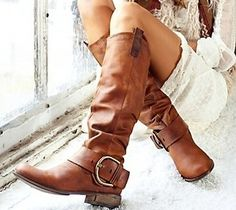 Fall Fashion Trend- Funky leather cowboy style boots with bulky oversized buckle. Pair it with a knit sweater dress to add femininity.