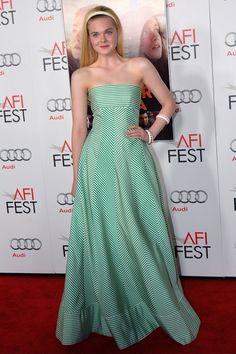 Elle Fanning looking sweet in mint Oscar de La Renta dress in LA