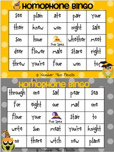 """Hoo knows which, witch is which?"" Use this fun Halloween themed bingo game to practice homophones.  25 homophones and 12 different game boards are included. $"