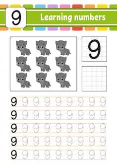 Learning numbers for kids Premium Vector Preschool Writing, Numbers Preschool, Learning Numbers, Learning To Write, Kids Homework, Numbers For Kids, Kids Math Worksheets, School Kids, Math For Kids