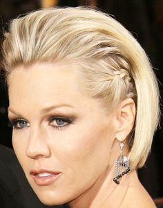 Celebrity Jennie Garth Sleek bob and braided sides
