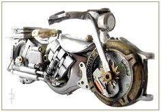 Steampunk miniature motorbike, motocycle made of watch elements Sold