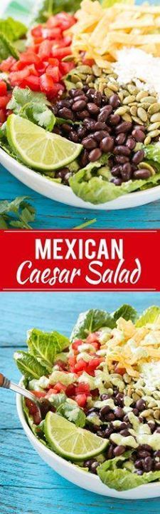 This recipe for mexi This recipe for mexican caesar salad is...  This recipe for mexi This recipe for mexican caesar salad is crisp romaine lettuce tossed in a creamy cilantro dressing then finished off with a variety of fun toppings. Its caesar salad in a whole new way that might be even better than the original! Recipe : http://ift.tt/1hGiZgA And @ItsNutella  http://ift.tt/2v8iUYW
