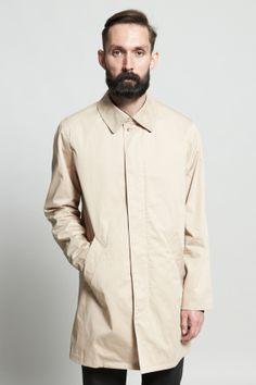 Shop for A.P.C. Outerwear for Men   Contrast Collar Mac in Beige   Incu