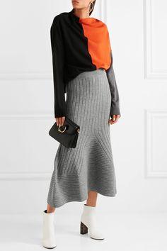 STELLA MCCARTNEY Flared ribbed wool midi skirt  £650.00 https://www.net-a-porter.com/product/899720