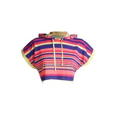 Multi coloured stripe hooded crop top ($7.86) ❤ liked on Polyvore featuring tops, shortsleeved tops, women, women's tops, striped crop top, loose tops, print crop tops, short sleeve crop top and crop top