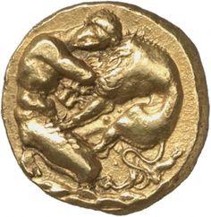 3.Herakles, als bartloser Jüngling wiedergegeben, im Kampf mit dem nemeischen Löwen auf felsigem Grund.