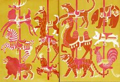 The Marvelous Merry-Go-Round (end papers). Dahlov Ipcar.