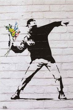 A fantastic poster of graffiti street art by the mysterious Banksy - This Flower Thrower has the right idea! Check out the rest of our excellent selection of Banksy posters! Need Poster Mounts. Banksy Graffiti, Street Art Banksy, Arte Banksy, Banksy Posters, Banksy Artwork, Street Wall Art, Bansky, Banksy Prints, Berlin Graffiti