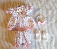 WELCOME TO SEW CUTE 4 U 2  This is a 4 piece dress set for a doll. The set is the dress, diaper cover, headband and socks  These outfits are for the OOAK clay babies, mini silicone and mini reborn babies. A lot of the store bought dolls have larger bodies and limbs. Please make sure on the size, I do not take returns since each outfit is made when ordered. You pick the color, Pink, Yellow or Lavender 7-8 dress is about 3 wide just under the arms and about 4 long  9-10 dress is about 3 3/...