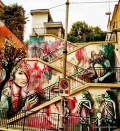 Street art by Alice Pasquini in Salerno, Italy
