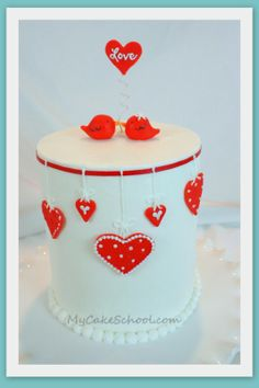 Valentine Cake with Love Birds~ A Blog Tutorial! my cake school
