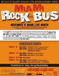 Join us on the Rock the Bus Tour celebrating Miami Live Month! Each week Big Bus Miami will take you to a pre-party and live music event in Miami