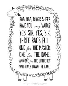 "FREE PRINTABLE wall decor - poster with ""baa baa black sheep"" nursery rhyme."